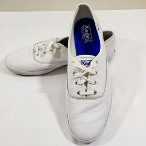 KEDS WOMEN'S LACE SNEAKERS WHITE LEATHER